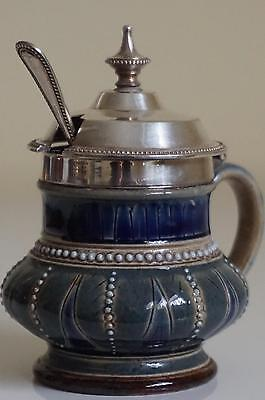 Fine Doulton Lambeth Handled Mustard Pot - Hinged Cover - Annie Gentle - c.1880