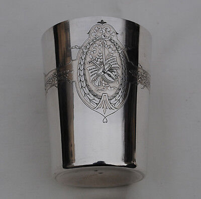 ANTIQUE FRENCH STERLING SILVER Large Wine Cup, Timbale or Beaker Cup LOUIS XVI