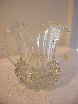 """Vintage Clear 4"""" Glass Pitcher with Diamond Design at Bottom and Handle"""