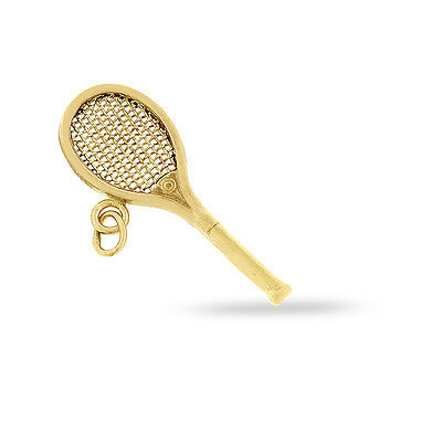 Vintage Tennis Racquet Charm In Solid 14k Yellow Gold