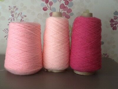 3 x PART CONES PINK 4-PLY YARN/WOOL/ACRYLIC, 600g TOTAL, MACHINE/HAND KNITTING