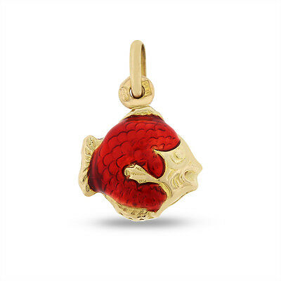 Vintage Fish Charm Red Enamel Charm Solid 14k Yellow Gold 1.29 Grams