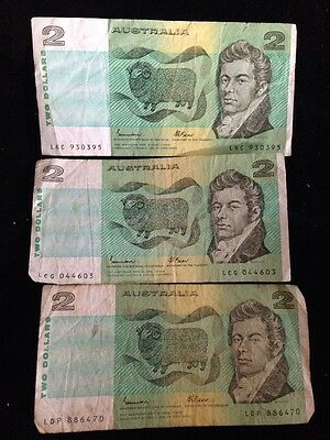 Australia Two Dollars ($2) Banknotes x3