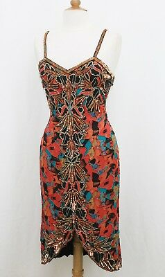 Jasdee Vintage Bead & Sequins Dress Hand Work & Hand Print On Silk Style 5007L
