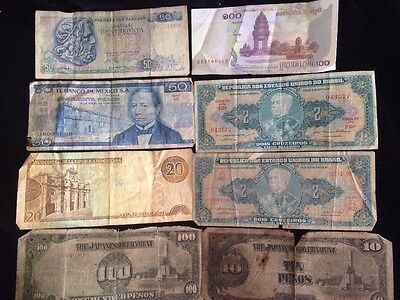 Lot Of Multiple Banknotes ~ Japan, Greece, Mexico, Brazil, Domin. Rep., Cambodia