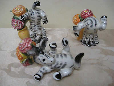 Retired Fitz and Floyd Tumbling Tumbler Zebras and Zinnias set of 3