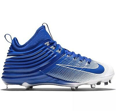 New $140 NIKE Lunar Trout 2 Mid Metal Mens Baseball Cleats: Blue/White size 10.5