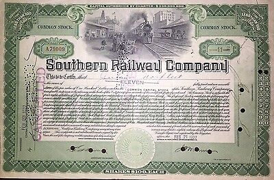 Southern Railway Company > now Norfolk Southern > old railroad stock certificate
