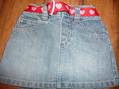 NWOT Girls size 2T Old Navy denim skirt with red heart belt NEW