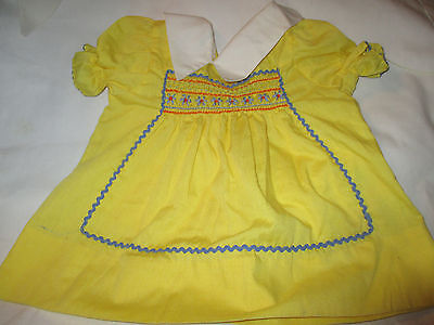 VINTAGE LITTLE GIRL'S SMOCKED & EMBROIDERED DRESS w/ RICK RACK~BABY CRISSY DOLL?