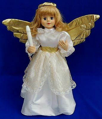 """Telco 24"""" Motionette ANIMATED LIGHTS Christmas Angel w/ Candle Display Figure"""