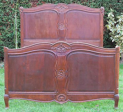 Carved Wooden French Double Bed with Pine Slat Base