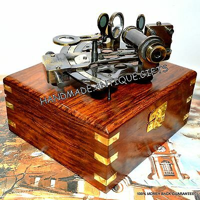 Nautical Antique Maritime Brass Sextant With Wooden Box Vintage Collectible 6''