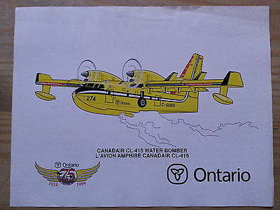 Vintage 1999 Fire Poster - Canadair CL 415 Water Bomber - 8.5 x 11