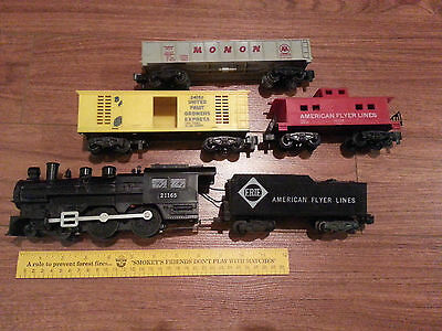 VINTAGE AMERICAN FLYER 21165 S Scale Train Set Locomotive tender 2 cars caboose