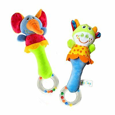 Soft Plush Animal Baby Rattle Toys 2 PCS Cow and Elephant Grasping Toys