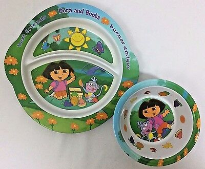 Dora the Explorer Mealtime Dinner Kids 2 Piece Set Plate and Bowl Dora and Boots