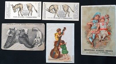 Victorian Trade Card Shoes Western School  Black Tip Standard Screw 5pc Lot