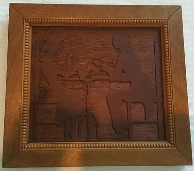 Vintage Marquetry Inlay Wood Hand Carved Picture