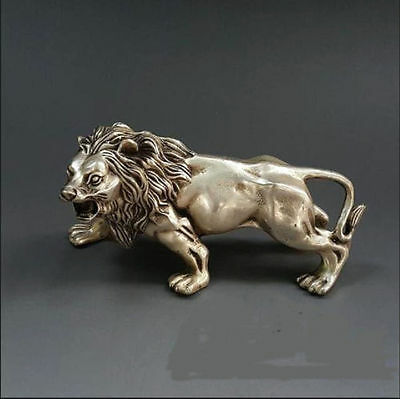 Chinese copper lion statue Tibet silver Wild Animals lion statue