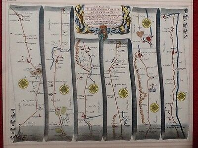 Shrewsbury -Chester, Holywell -Flint, Replica 17c OGILBY Old Road Map Book Plate