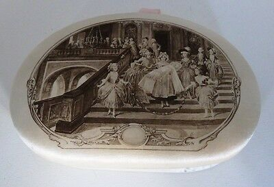 Antique Chocolate Box Silk on Cardboard With Beautiful Lithograph on Lid