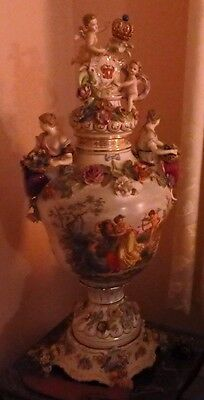 Antique Dresden Large Ornate Urn, Perfect