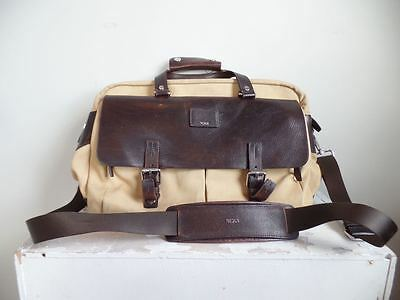 Tumi York Townhouse Tan Canvas Brown Leather Messenger Briefcase Bag