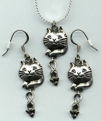 Silver Pewter CAT KITTY & MOUSE Necklace & Earrings  NEW  Never Worn VERY CUTE!