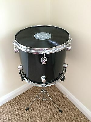 Upcycled Tom Drum Side Table with Vinyl Record Table Top