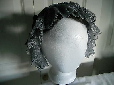 Victorian Reproduction Mourning Cap, With Blue Ribbon, Gray Lace, Handmade