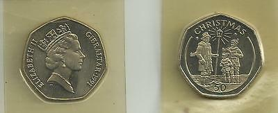 Gibraltar 1991 50p coin Christmas issue - rare - post free