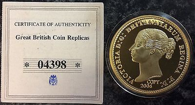 Victoria,,gold Plated Proof Medallion.unc.40 Mm.with Certificate Of Authenticity