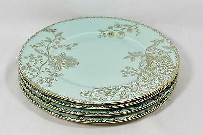 222 Fifth Peacock Garden Turquoise / Gold Porcelain Dinner Plates Set of 4 New