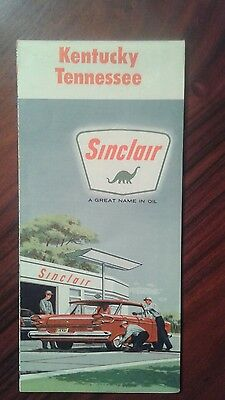 Sinclair oil road map 1961 kentucky tennessee excellent condition rare nice