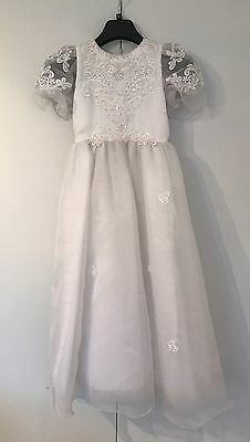 Holy Communion Dress | White, with lace and bead embellishment | Size 42