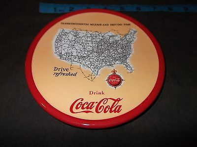 """Coca Cola Plate With Transcontinental Mileage And Driving Time Map 7"""" in. Coke"""