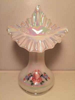 Fenton jack in the pulpit vase hand painted white iridescent