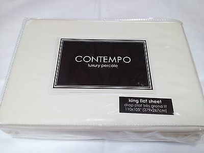 Contempo 100% cotton percale 300 thread count king flat sheet ivory