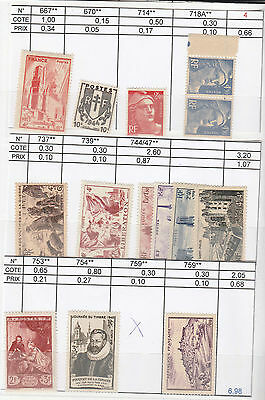 Lot Timbres  France .timbres Neuf  **