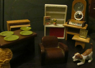 Dolls house furniture - vintage mixed lot 1/16