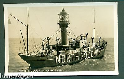NORTH GOODWIN LIGHTSHIP WITH CREASTED EAGLE CACHET, vintage postcard