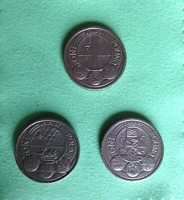 3 x £1 Coins - Cardiff, Belfast and London