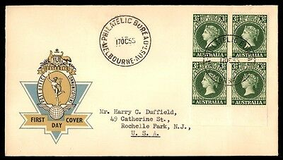 Australia October 17, 1955 Australia Block Of 4 First-Day Cover With Cachet