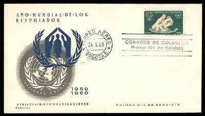 Colombia Refugee Year May 24, 1960 First Day Cover With Cachet