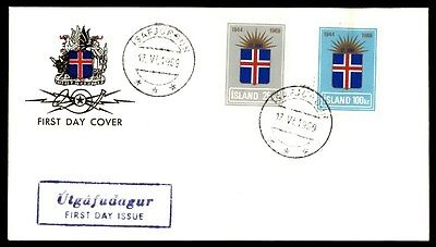 June 17 1969 Iceland First Day Cover With Patriotic Issues