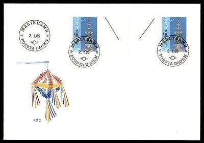 Aland Mariehamn 1985 Gutter Pair On First Day Cover FDC