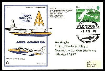 April 1, 1977 London Norwich First Flight Cover Fokker F27 Air Anglia