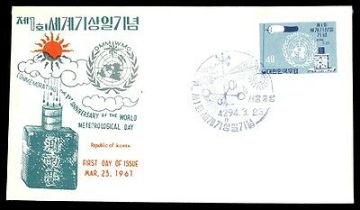Korea Meteorological Day 1961 Cachet First Day Cover Ua Unsealed