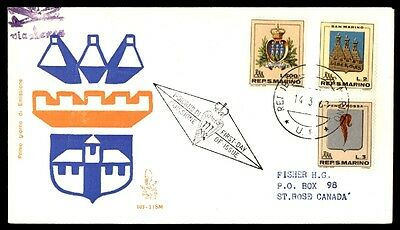 March 14, 1963 San Marino Illustrated First Day Cover With Cachet